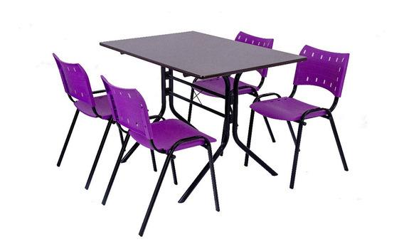 Jogo Mesa 4 Cadeiras Sorveteria Lanchonet 1,20x70 - Roxo