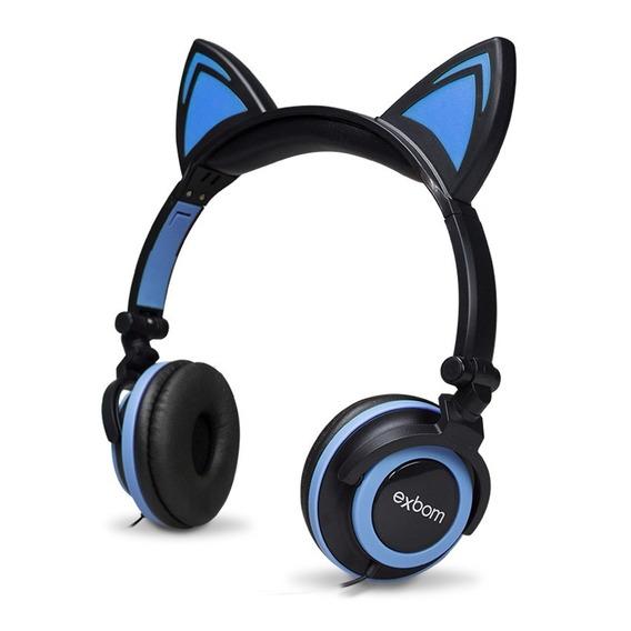 Headphone Orelha De Gato Preto Com Azul E Led Azul Hfc22