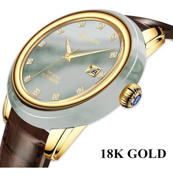 18k Ouro Jade Relógio Mecânico Automático Masculino Diamante