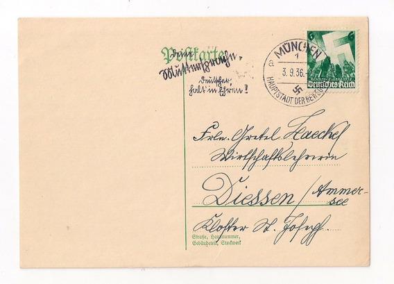 Alemania 3ª Reich Postal Circ. Munchen 1936