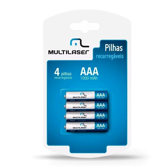 Jogo 4 Pilhas Recarregável Inteligente Multilaser 1000mh.