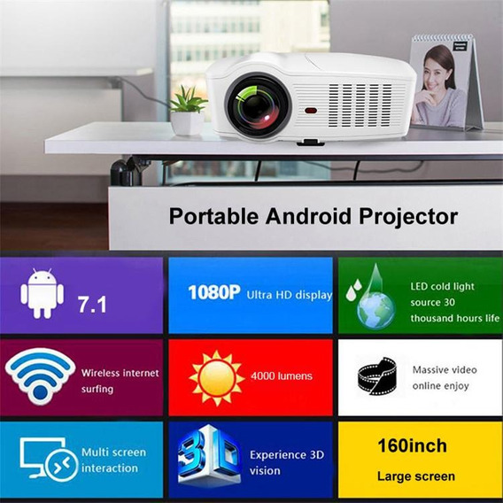 Projetor Smart Data Show Android Wifi Netflix 4000 Lumens