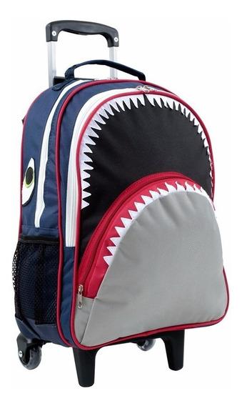Mochila Escolar Com Rodinhas Tubarão Forrada Mumagi