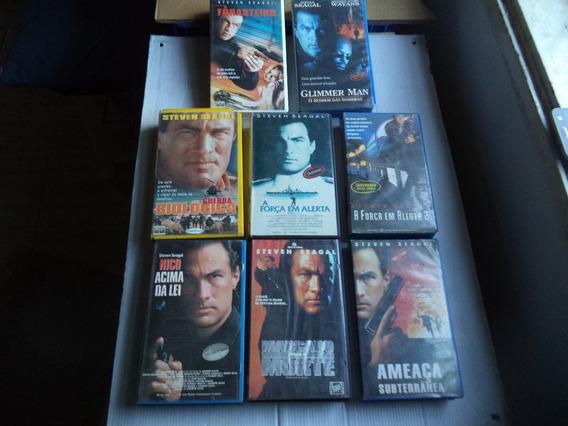 Lote Filmes Vhs Seleção Steven Seagal -com 8 Fitas Cassete