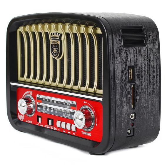 Radio Portatil Retro Fm Am Sw Aux Usb Cartão Recarregavel
