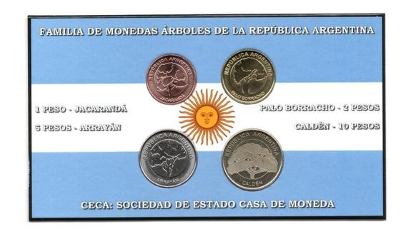 Blister 4 Monedas Argentina Serie Arboles 2017-2018 Unc
