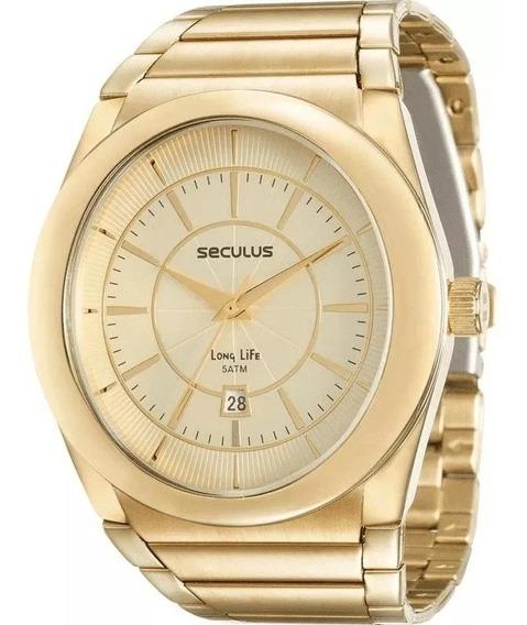 Relógio Seculus Masculino Dourado - Promoção!