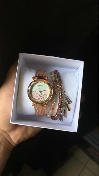 Relógio Feminino Com Pulseiras Estilosas Novo Na Caixa