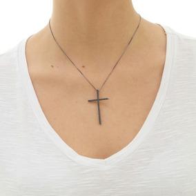 Colar Feminino Cruz Cravejada Zircônias Banho Ródio Negro