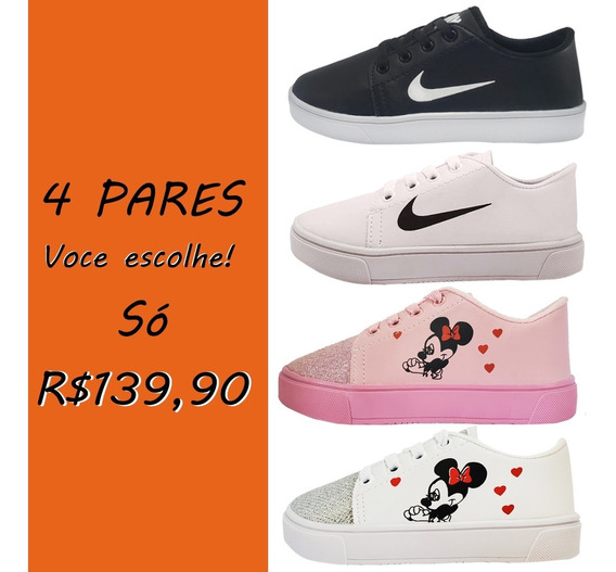 Kit 4 Pares Tênis Infantil Casual