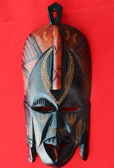 Máscara Africana De Madera Tallada A Mano Origen Kenia