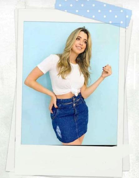 Saia Jeans Feminina Cós Duplo Com Zíper E Botão Cintura Alta