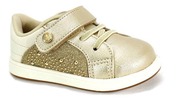 Tênis Klin Bebê Mini Gloss Menina Dourado