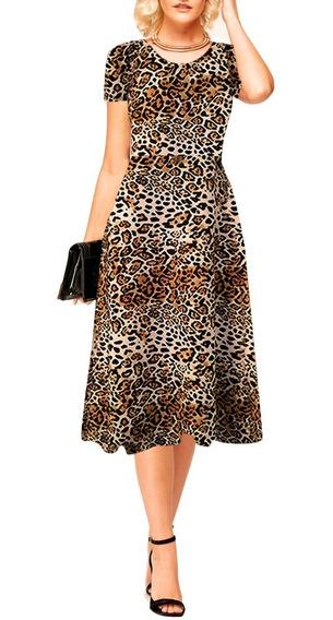 Vestido Midi Evasê Rodado Vestido Gode Moda Evangélica 105cm