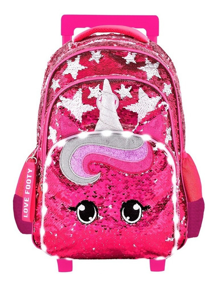 Mochila Footy Con Luz Led Unicornio Star Carro 18 Lentej Re