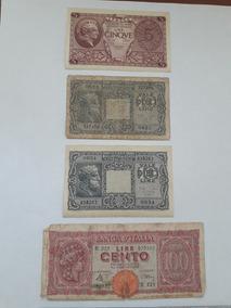 Quatro Cedulas Notas Antigas Italia