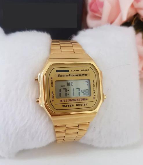 Relogio Unissex Original Dourado+ Caixa Oferta