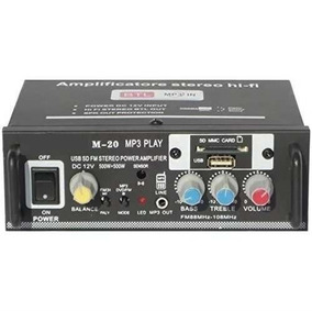 Mini Amplificador M-20 Fm Bluetooth Usb Auxiliar Stereo 12v