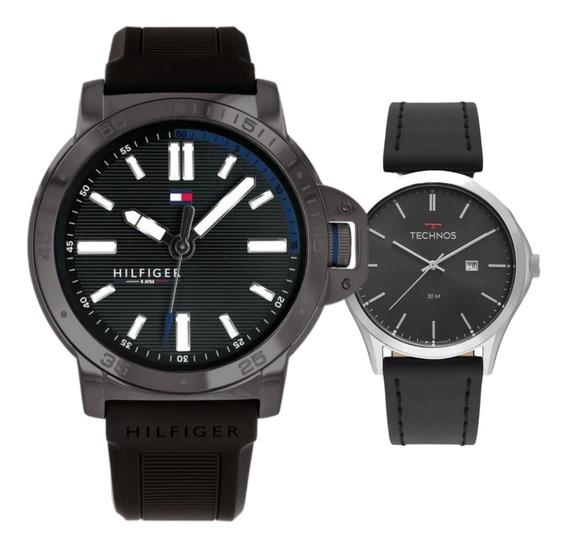 Relógio Tommy Hilfiger Masculino Borracha + Technos De Couro