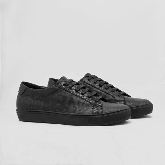 Tenis Zapatos En Cuero Sneakers 100% Cuero Informal Negro
