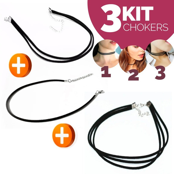 Kit 3 Chokers Gargantilha Duplo, Triplo Courinho Camurça