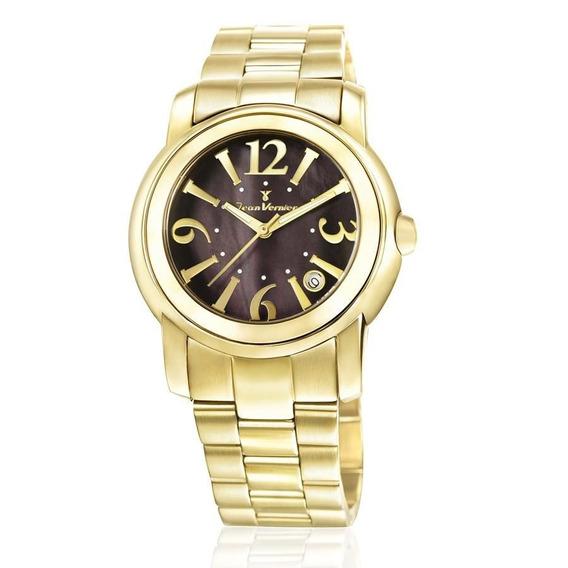 Relógio Jean Vernier Feminino Ref: Jv1008 Fashion Dourado