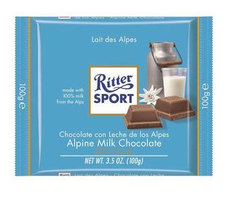 Tableta Chocolate Ritter Sport Lait Des Alpes X100g Caja X12