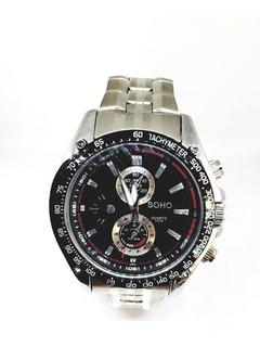 Reloj Soho Hombre Metal Plateado Moderno Ch186 Dion Diana