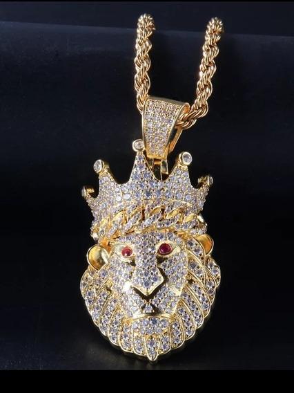 Colar Hip Hop Ouro Mini Luxo Leão Zirconias Cravejado