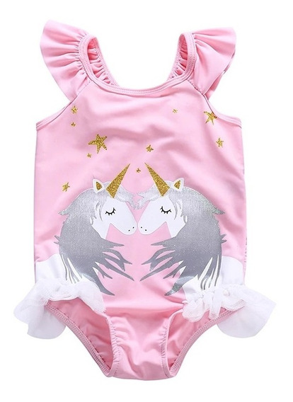 Traje De Baño Unicornio Niña Bikini Unicornio Disfraz Unicor