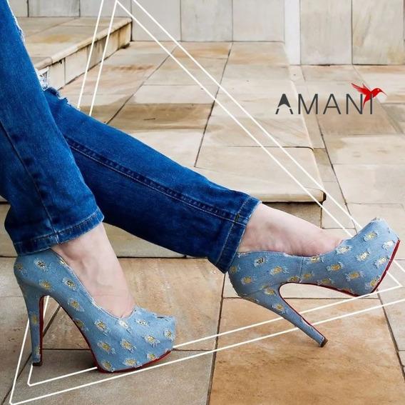 Scarpin Pata Azul Claro Jeans Destroyed Rasgado Dourado + Nf