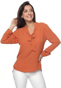 Camisa Feminina Em Crepe Chiffon Detalhe Gola Sob