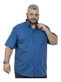 Camisa Plus Size Bigshirts Manga Curta Dubai - Azul