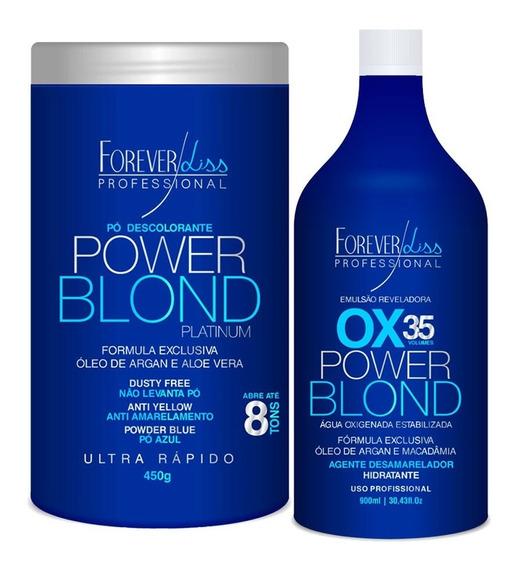 Kit Forever Liss Power Blond Pó Descolorante + Ox 35 Volumes