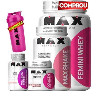 Kit Whey Femini + Colageno + Max Shake + Multi Max Femme