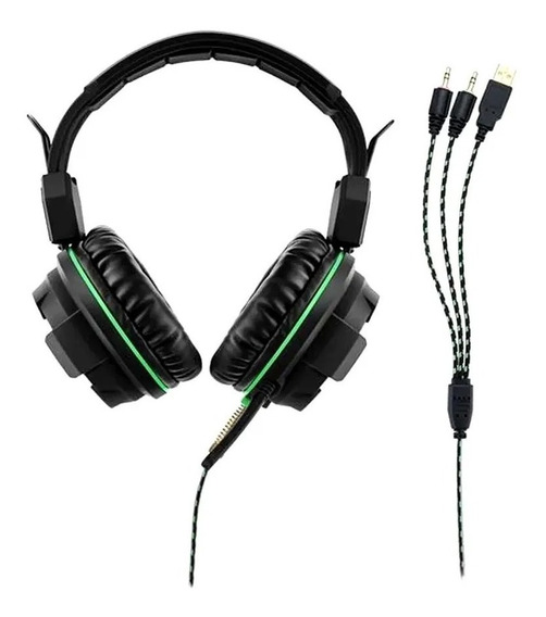 Headset Gamer Magne Pc P2 3,5mm Warrior Ph143 Led Verde
