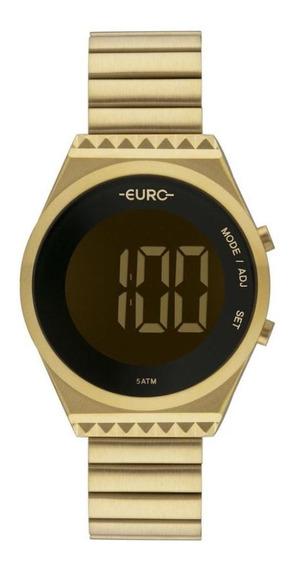 Relógio Euro Feminino Digital Caixa Slim Casual Dia A Dia