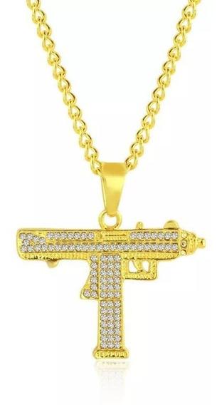 Cadena Uzi Hip Hop Oro Diamantada