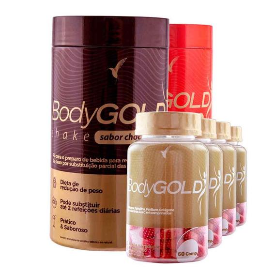 Kit Bodygold Para 2 Meses + Shake Morango + Shake Chocolate