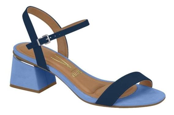 Sandália Vizzano Salto Médio Grosso Tira Frontal Azul Jeans