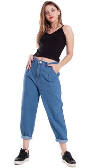 Jeans Mujer Pantalón Baggy Slouchy Rígido Ancho Tiro Alto