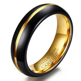 Par Aliança Tungstênio 6mm Preto Com Dourado Casamento