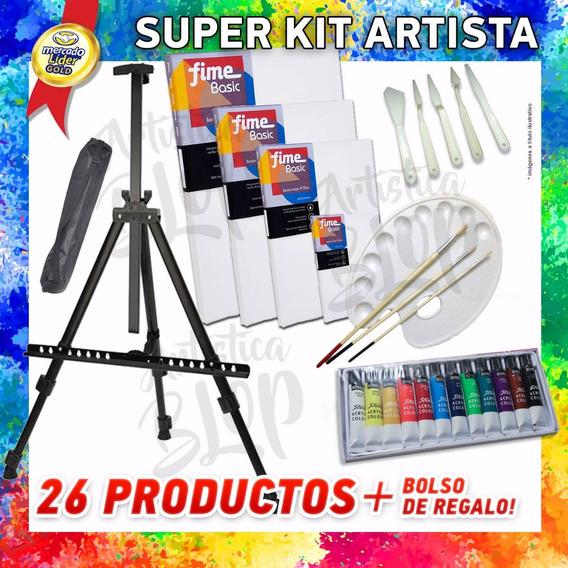 Kit Combo Arte Atril Bastidores Paleta Pinceles Acrílico +