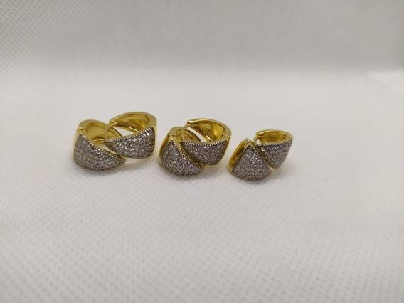 Trio Argolas Tamanhos Diferentes Folheado Ouro Microzircônia