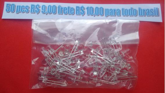 50 Pçs Led Branco Ultra Brilho 5mm
