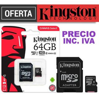 Memoria Micro Sd 64 Gb Kingston Clase10 Inc Iva Original