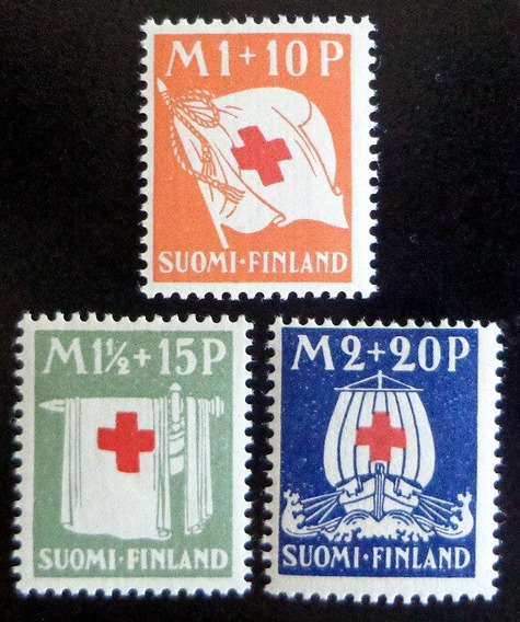 Finlandia, Serie Yv. 156-58 Cruz Roja 1930 Nueva L8544