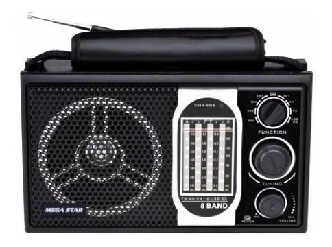 Rádio Portátil Am/fm/sw 8 Faixas Usb/sd/mp3 Bat Recaregavel