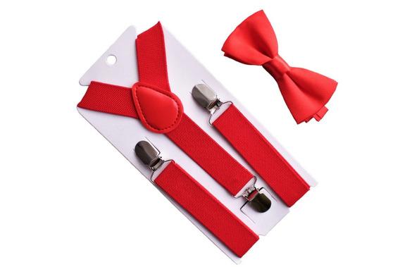 Set Humita + Suspensores Para Niños Color Rojo