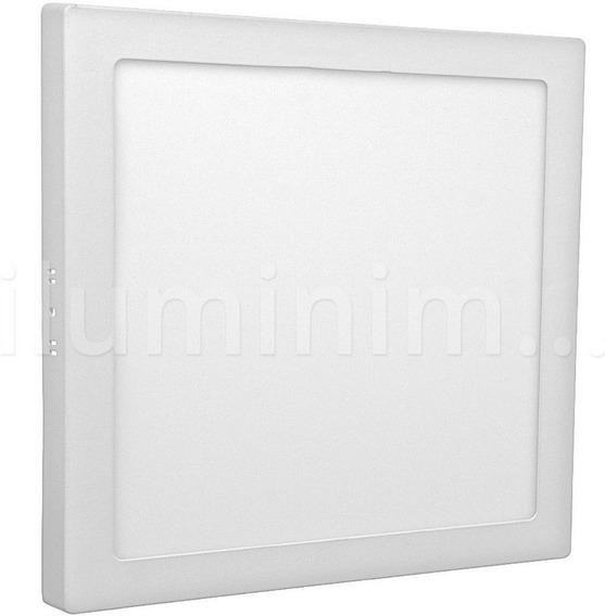 Painel Plafon 25w Quadrado Sobrepor Super Led Branco Quente